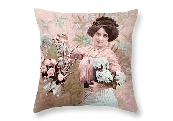 Victorian pillow cover Vintage girl Pink by Thevintagedecorshop