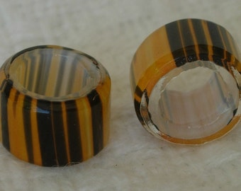 """Blown Glass Beads, """"Tiger Tiger (Burning Bright)"""" Tangerine with black stripes on white core, 17 beads total"""