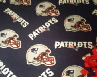READY TO SHIP New England Patriots Knotted Fleece Throw With Antipill Backing.