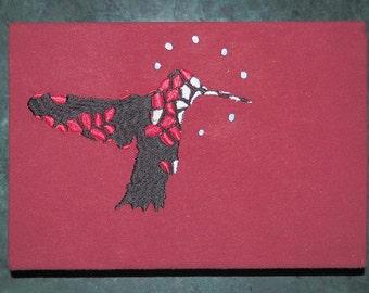 Hummingbird Embroidery Artwork (circle)