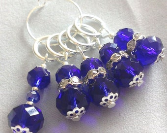 Blue stitch markers - faceted knitting stitch markers crochet markers - glass beaded stitch markers
