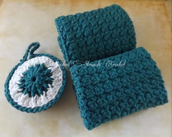 Handmade Crochet Exfoliating wash cloth and facial scrubbie set, bath spa set, cotton facecloth, turquoise facecloth Ready to ship