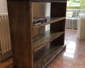 Handmade recycled scaffold plank  solid wood, wide bookcase, shelf unit.