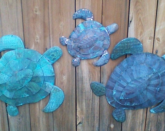 Copper sea turtle - hand made