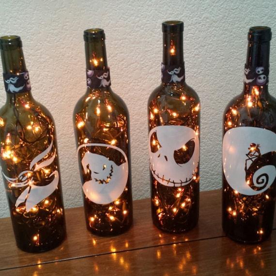 Nightmare Before Christmas Wine Bottle Lights Orange Lights