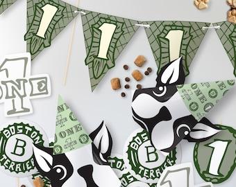 Boston Terrier Dollar Bill Money Theme // First Birthday // Customizable Downloadable + Printable