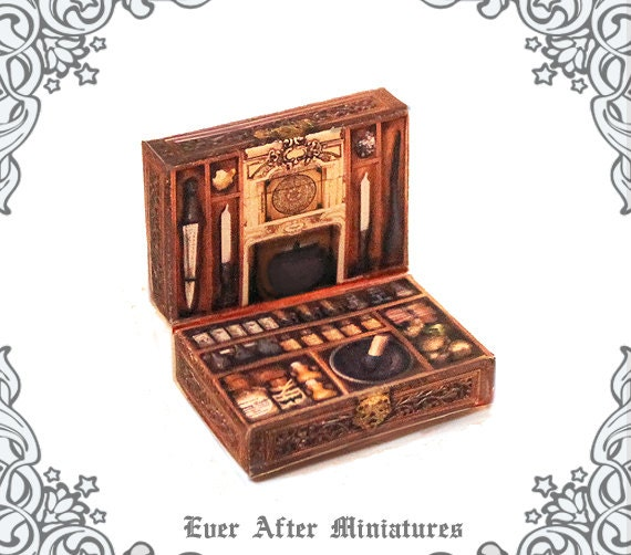 WITCH POTION Kit Miniature Case 1:12 Openable Dollhouse Magic