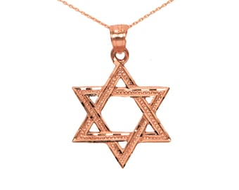 14k Rose Gold Star of David Necklace, Gold Star of David Pendant