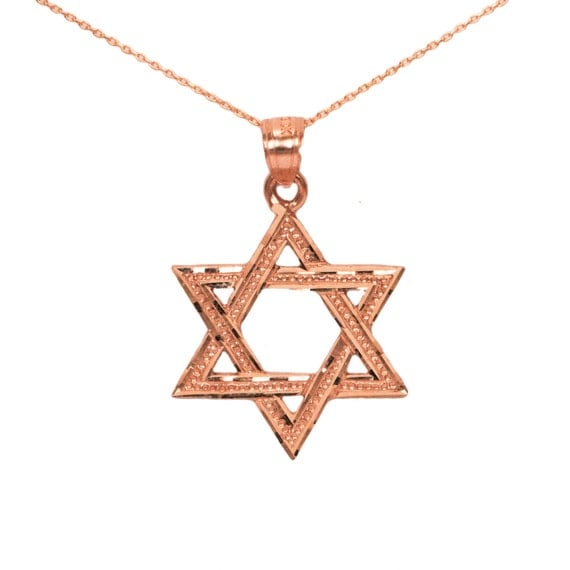 14k Rose Gold Star Of David Necklace Gold Star Of David