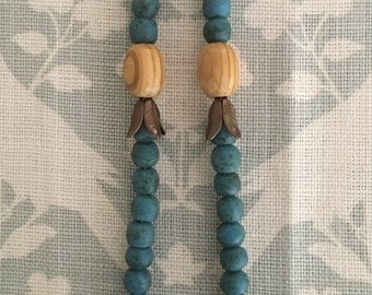 Chunky long beaded statement necklace - robin's egg blue, blue, aquamarine, wood, sea glass, wooden, bead