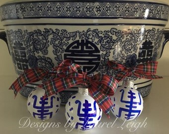 Set of 3 Chinoiserie Symbol Ornaments (SMALL size) | MINI, Blue and White, Holiday, Gift, Hostess, Housewarming, Christmas