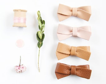 Baby Leather Hair Bow Crocodile Clip or Nylon Headband, Nude Pink, Buff, Palomino & Oak Brown Girl, Adult Bow, Spring/Summer, Neutral Color