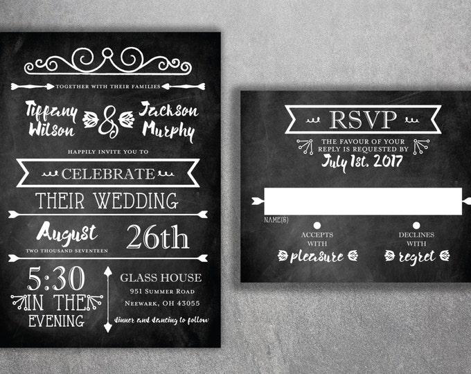 Chalkboard Wedding Invitations, Blackboard Wedding Invitation, Rustic Wedding Invitation, Wedding Invite, Black and White, Country, Chic