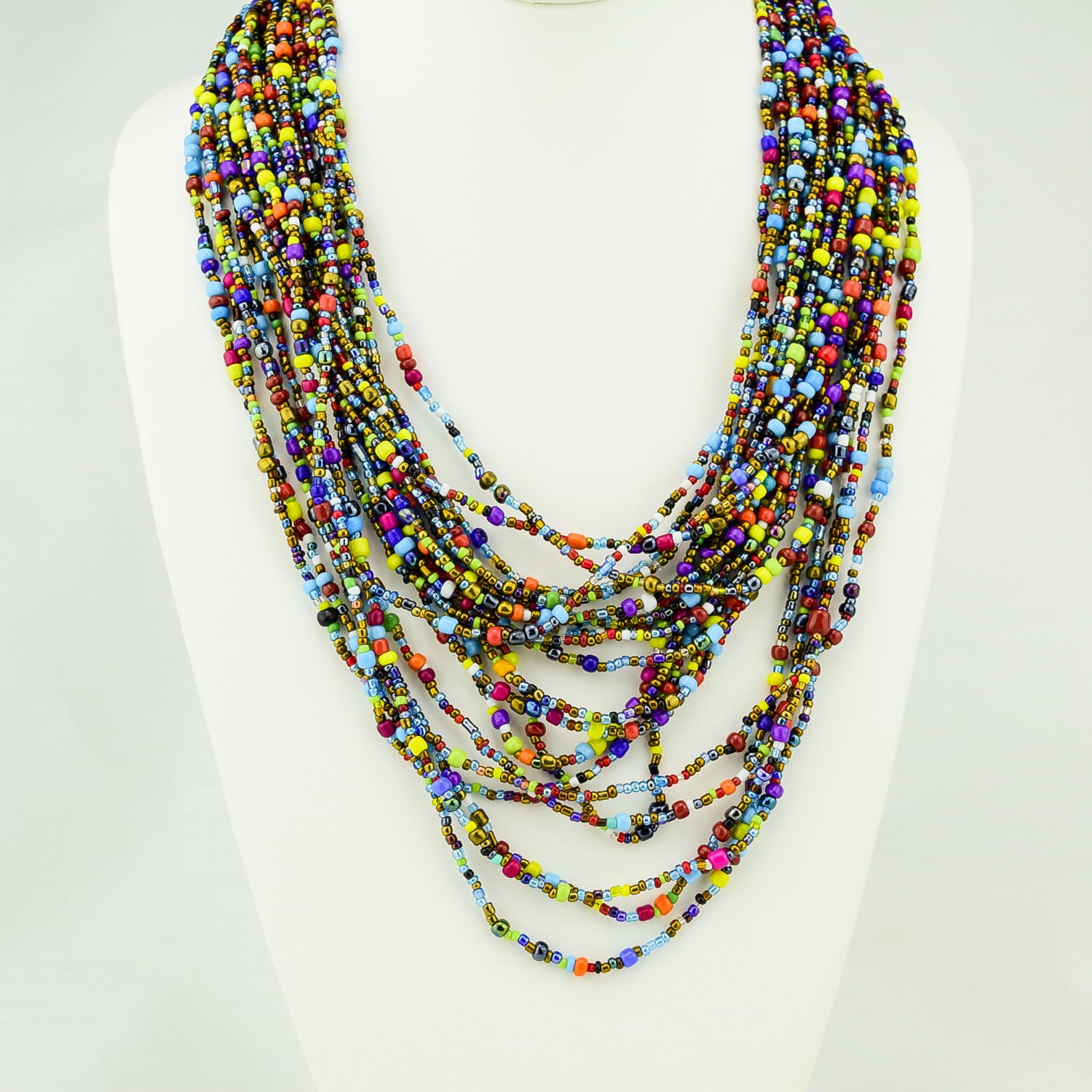 Necklace Beads: African Multi Color Maasai Bead Strand Necklace