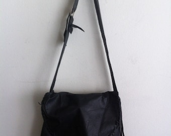 Handmade crossbody bag for woman, handbag from real leather, delicate matte leather, vintage, black color, size: medium