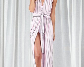 Beach cover up dress pale pink stripe sleepless