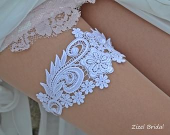 White Wedding Garter, Bridal Garter, Wedding Garter Set, Garter Set, Wedding Clothing, Garter, White Lace Garter, Handmade Garter, Garters