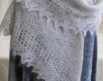 Vintage Silver Hand Knit Shawl