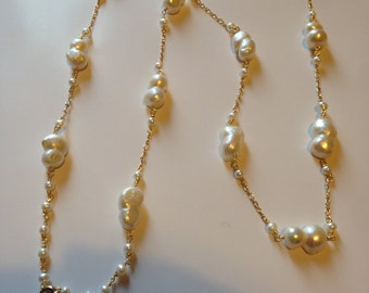 Goldfilled chain cultured pearl necklace