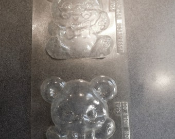 Solid Teddy Bear Wearing Bow Tie Sheet of 2 Vintage Plastic Candy Mold