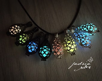 Mermaid teardrop pendant, glow in the dark jewelry, leather chain necklace,ready to ship