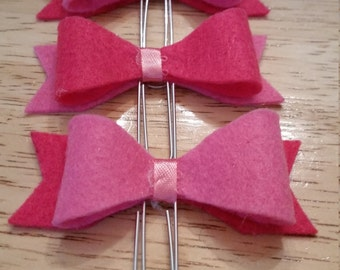 Pink Bitty Bow Paperclips