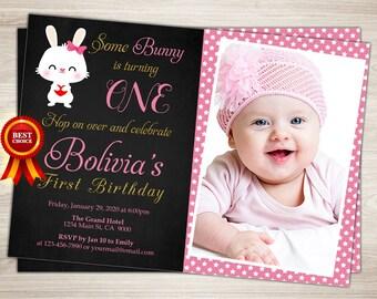 Bunny Birthday Invitation Girl Easter Birthday Invitation, Bunny First Birthday Invitation, Chalkboard Birthday Invitation, Bunnies, Easter