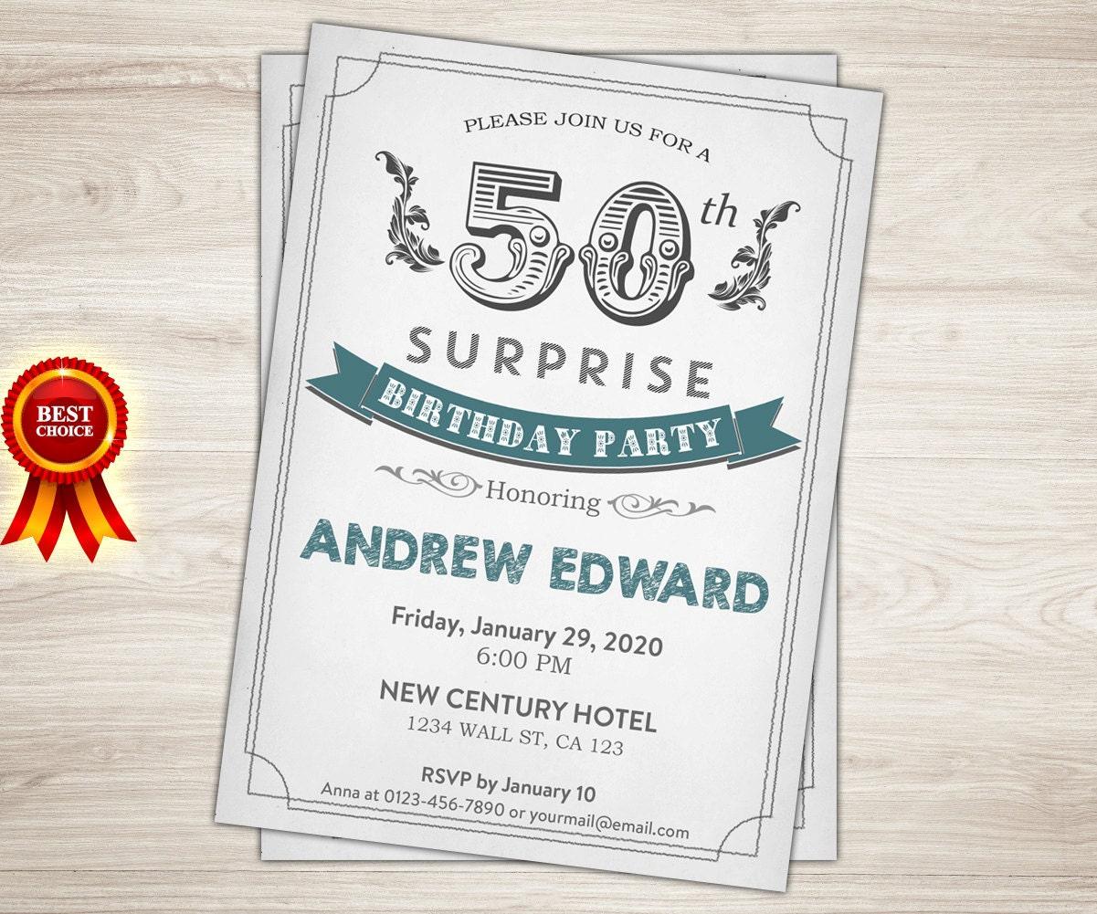 Retro 50th Birthday Invitation. Men Man Surprise 50th 40th