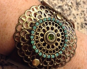 Leather Cuff with Brooch; Leather Bracelet; Leather Wristband;