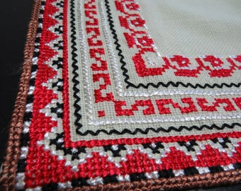 Antique, linen handmade Bulgarian embroidered tablecloth, SALE!