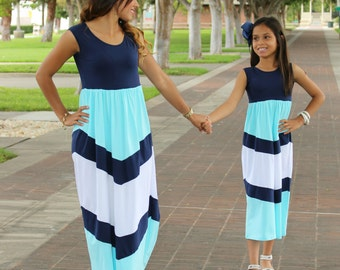 CLEARANCE 1 Dress Only Lovely Blue Maxi Dresses, Baby Shower Dress,  Matching Mommy Daughter