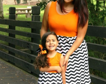 CLEARANCE only 1 dress orange & black chevron dress, summer dress, matching outfits, mommy and me, matching dresses, casual dress