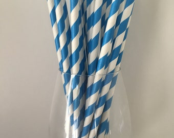 Blue Striped Straws, Blue Paper Straws, Paper Straws, Drinking Straws, Wedding Straws, Party Straws, Birthday Party Straws, Baby Shower