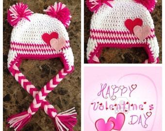 crochet valentines beanie