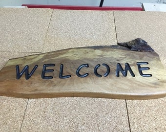 Natural Edge Welcome Sign