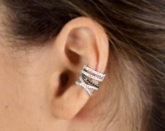 Cross ear cuff, double helix, diamond ear cuff, white gold earrings, no pierceing helix, 14k gold ear cuff, no piercing ear cuff,  helix