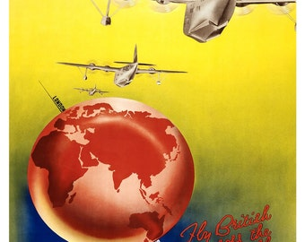 Vintage Qantas Airways Air Travel Poster Print