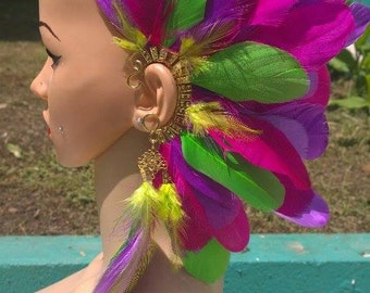 Feather Ear Cuff with Feather Chandelier KS0012