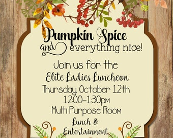 Fall Invitation, Bridal Shower, Ladies Lunch, Thanksgiving,  Relief  Society