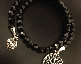 Tree of life black beaded bracelet