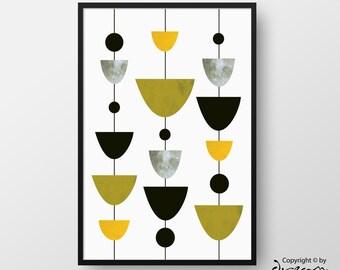 Scandinavian Poster, Modern Mid-Century Art, Minimal Print, Nordic Poster, Printable Geometric Art, Geometric Print, INSTANT DOWNLOAD