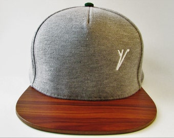 Handmade snapback hat with wooden brim
