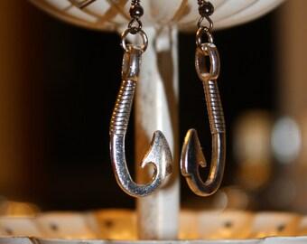 Fish Hook Silver Dangle Earrings