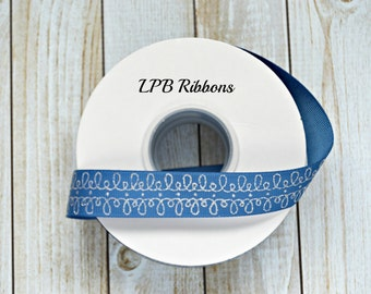 "7/8"" Blatik blue ribbon, 7/8"" Grosgrain Ribbon, Party doodles ribbon, US Designer Ribbon, Glitter Ribbon, Blue Ribbon"