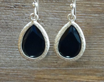 Black and Gold Faceted Teardrop Earrings