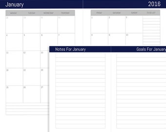 2016 Monthly Dated Calendar  | Instant Download