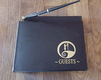 Nightmare Before Christmas Wedding Guest Book & pen