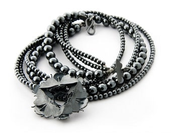 """Hematite Designer Necklace with Sterling Silver Butterfly Pendant """"Transformations"""""""