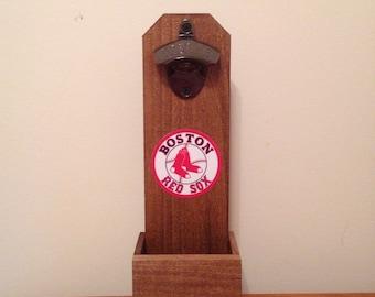 Wall Mounted Bottle Opener - Boston Red Sox