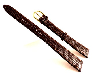 Rich Dark Brown, 14mm, Genuine Leather, Lizo Calf Watchband/Strap Gold-tone Buckle by IW. NOS